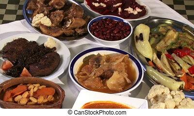 Food, tilt down - Food, served on table, restaurant, tilt...