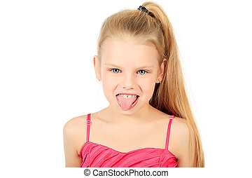 grimace - Portrait of a funny 7 years old girl Isolated over...