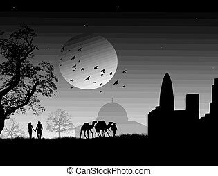 Arabian night - Silhouette of enamoured couple on arabian...