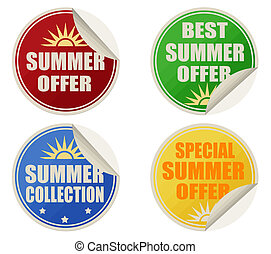 Best summer offers stickers set - Stickers set with text...