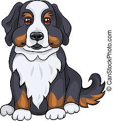 vector cute Bernese Mountain dog puppy smiles - color sketch...