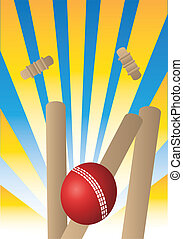 cricket ball with yellow rays