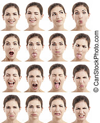 Multiple faces expressions - Multiple close-up portraits of...