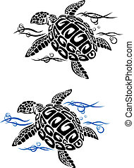 Turtle in sea water in cartoon style for tattoo or...