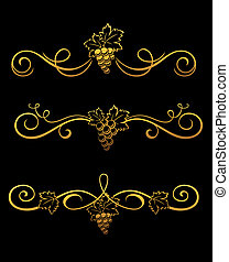 Golden grape borders - Set of golden grape borders for...