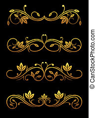 Flourish borders and dividers - Golden vintage borders and...