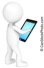 Tablet Pad. - 3D little human character holding a Tablet...
