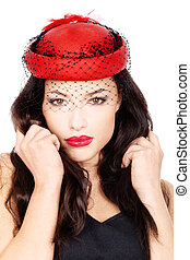 girl with red hat - Pretty black hair woman with red hat and...