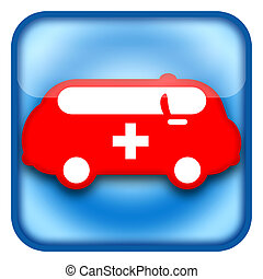 Ambulance car icon isolated on white background
