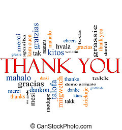 Thank You Word Cloud Concept with great terms in different...