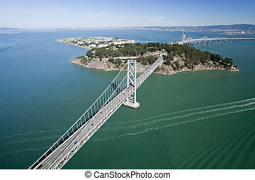 San Francisco Bay bridge aerial view w Treasure Island - San...