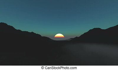 sun rise from mountain