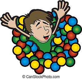 The Ball Pit - A cartoon style illustration of a boy jumping...