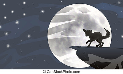 coyote at moonlight