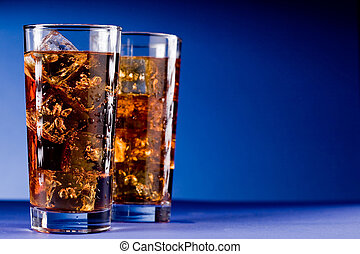Glass of Cola with Ice - Photo of delicious cold glass with...