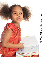 African American Asian black child reads a book isolated...
