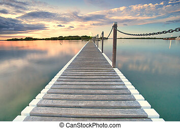 pontoon jetty across the water in yamba nsw