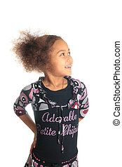 afro american beautiful girl with black curly hair metisse -...