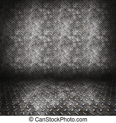 diamond plate metal room floor and wall