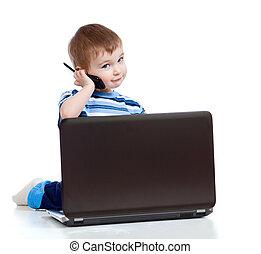 móvel, telefone,  laptop, criança