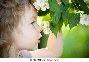 花,  jasmin, 子供