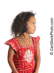 afro american black asian beautiful girl with curly hair listening to music isolated girl metisse asiatique