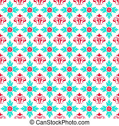 Seamless Bright Damask - Hot pink and bright turquoise...