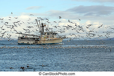 Old fishing trawler in Alaska - Old commercial fishing...