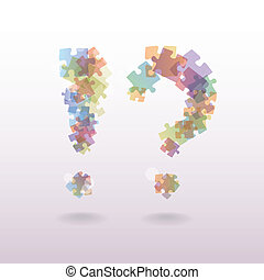 exclamation mark question mark from the pieces of puzzle -...