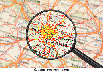 Destination - Paris (with magnifying glass) - Tourist...