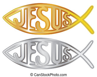 silver and gold christian fish symbol - illustration