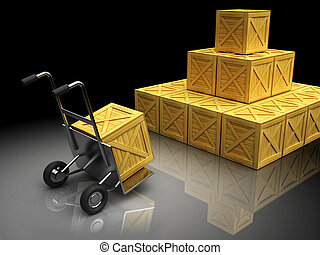 warehouse - 3d illustration of crates with truck, warehouse...