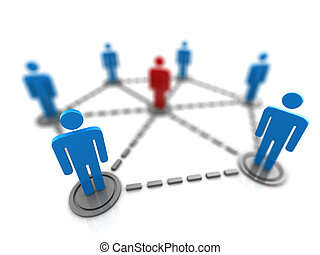 people network - 3d illustration of people network symbol