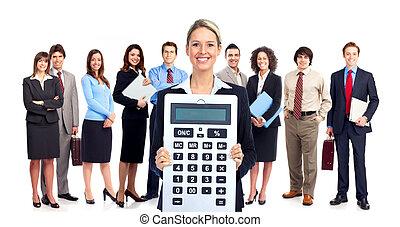 contador, empresa / negocio, mujer