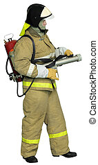 Fireman with a Fog nozzle - Firefighter with autonomous...