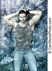 Winter hunk - Stylized outdoor portrait of muscular man...