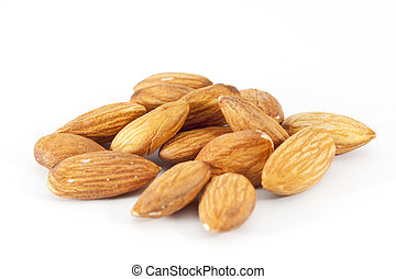Pile of almonds on the white background