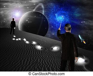 hombre, puntos, hacia, galaxia, Ciencia, ficción,...