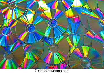 CDs - Lots of shiny CDs/DVDs with beautiful rainbow colours