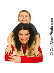 Piled happy mother and son isolated on white background