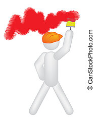 painter colouring wall vector illustration