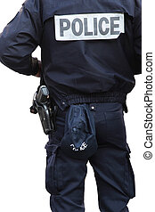 Police officer - detail of a police officer isolated on...