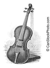 Violin - Old Engraving of a violin. Engraving by unknown...