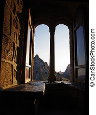 Window in the castle - Genoese fortress in Crimea - view...