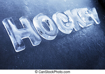 Hockey - Word Hockey made of real ice letters on ice...