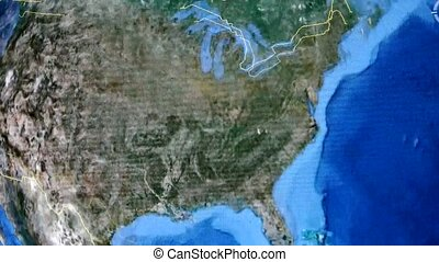 touch globe map on ipad,enlarged to Washington city of...