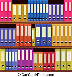 seamless shelfs with many-coloured folders - seamless shelfs...
