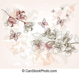 hand drawn spring scenery - full decorated hand drawn spring...