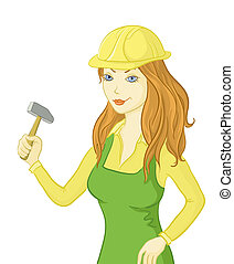 Girl worker with a hammer
