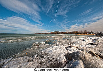 Balaton in winter - Frozen, iced lake of Balaton in winter